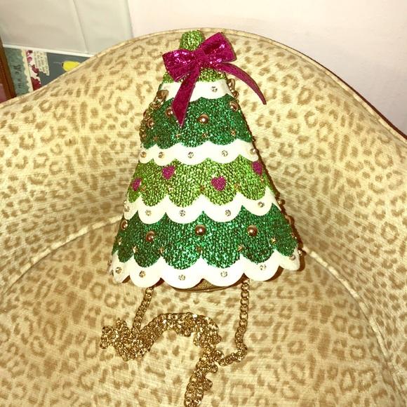Betsey Johnson Glitter Christmas Tree Purse 👛 🌲